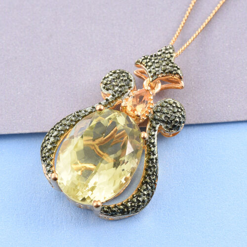 Natural Green Gold Quartz (Ovl), Citrine and Green Diamond Pendant With Chain in 14K Gold Overlay Sterling Silver 8.500 Ct.