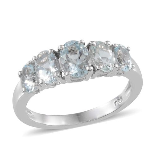 Espirito Santo Aquamarine (Ovl 0.50 Ct) 5 Stone Ring in Platinum Overlay Sterling Silver 1.900 Ct.