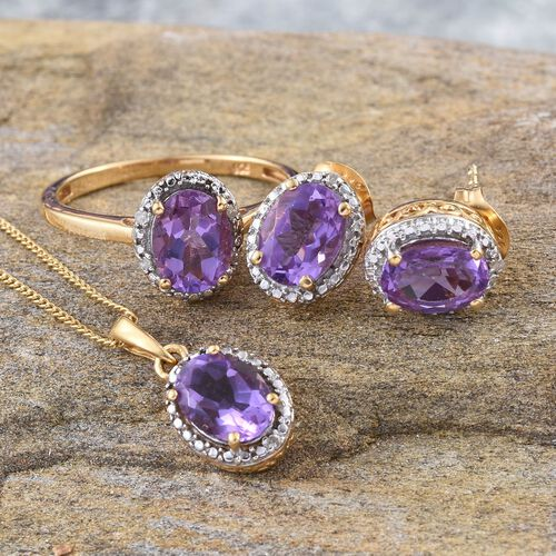 Lavender Alexite (Ovl), Diamond Ring, Pendant With Chain and Stud Earrings (with Push Back) in Platinum and 14K Gold Overlay Sterling Silver 4.750 Ct.