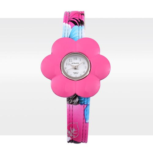 STRADA Japanese Movement White Dial Water Resistant Watch in Silver Tone with 6 Interchangeable Floral Bezel and Strap Purple, White, Pink, Blue, Cream and Black Colour in a Box