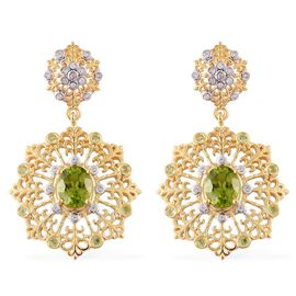 AA Hebei Peridot (Ovl), White Topaz Earrings (with Push Back) in Yellow Gold Overlay Sterling Silver 5.400 Ct.