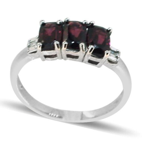 Rhodolite Garnet (Cush), Diamond Ring in Rhodium Plated Sterling Silver 2.275 Ct.