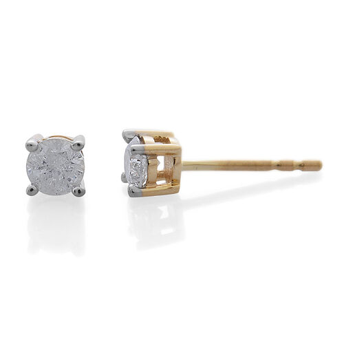 9K Y Gold SGL Certified Diamond (Rnd) (I3/G-H) Stud Earrings (with Push Back) 0.330 Ct.