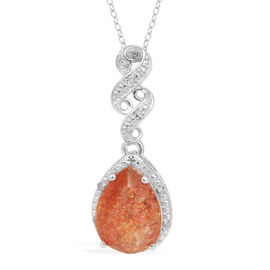 Tanzanian Sun Stone (Pear 6.50 Ct), Diamond Pendant With Chain in Platinum Overlay Sterling Silver 6.520 Ct.