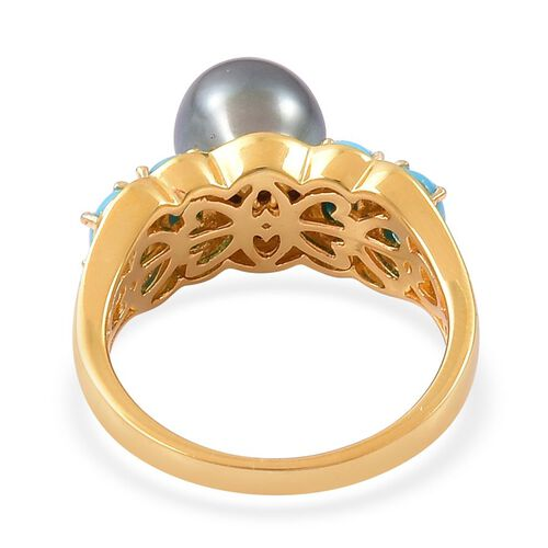 PEARL EXPRESSIONS Tahitian Pearl (Rnd), Arizona Sleeping Beauty Turquoise Ring in Yellow Gold Overlay Sterling Silver