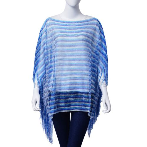 Blue Colour Poncho with Tassels (Size 100x60 Cm)