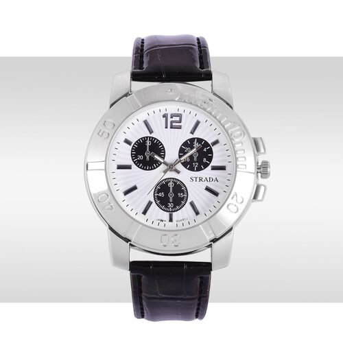 STRADA Japanese Movement White Dial Water Resistant Watch in Silver Tone with Stainless Steel Back and Black Strap