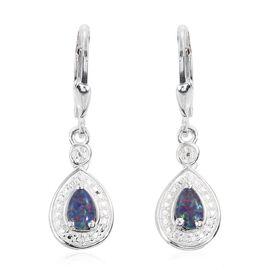 Australian Boulder Opal (Pear) Levar Back Earrings in Sterling Silver 0.750 Ct.