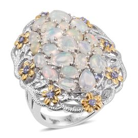 GP Ethiopian Welo Opal (Ovl), Tanzanite and Kanchanaburi Blue Sapphire Ring in Platinum Overlay Sterling Silver 4.250 Ct.