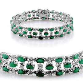 AAA Kagem Zambian Emerald (Ovl), Diamond Bracelet in Platinum Overlay Sterling Silver (Size 7.5) 11.020 Ct.
