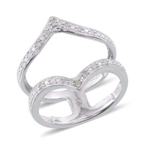 Diamond (Rnd) Chevron Ring in Platinum Overlay Sterling Silver 0.100 Ct.