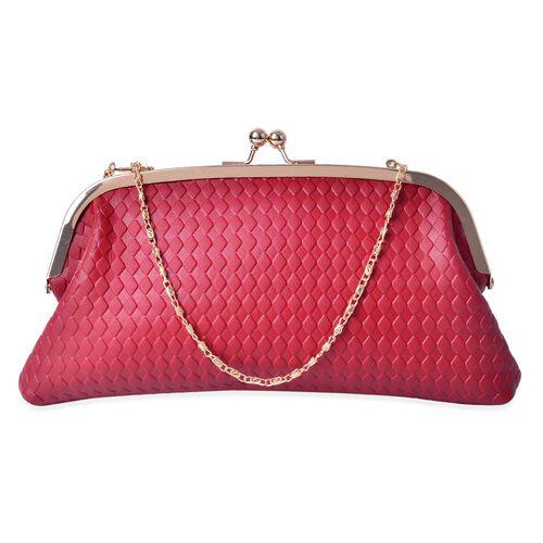 Diamond Pattern Red Colour Clutch (Size 27x13.5 Cm)