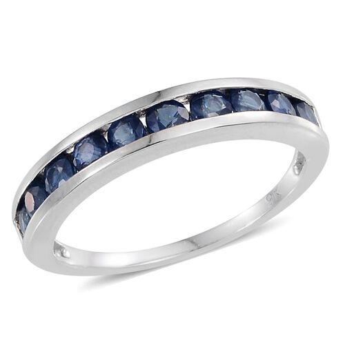 9K W Gold Kanchanaburi Blue Sapphire (Rnd) Half Eternity Band Ring 1.000 Ct.