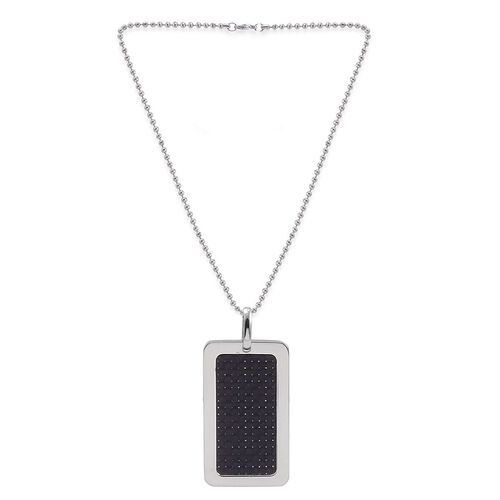 Close Out Deal ION Plated Black Stainless Steel Pendant with Chain