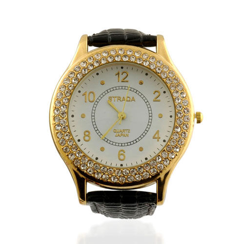 STRADA 18K ION Plated YG, Japanese Movement, Water Resistant, White Austrian Crystals, Watch with Genuine Leather Strap.
