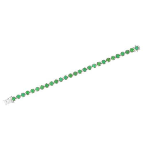 Green Ethiopian Opal (Rnd) Bracelet in Platinum Overlay Sterling Silver (Size 7.5) 10.000 Ct.