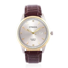 STRADA Japanese Movement White Austrian Crystal Studded Dial Watch in Yellow and Silver Tone with Stainless Steel Back and Chocolate Leather Strap