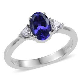 RHAPSODY 950 Platinum 1.25 Carat AAAA Tanzanite Oval Ring, with Trillion Diamonds VS E-F.