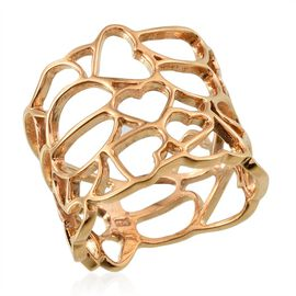 14K Gold Overlay Sterling Silver Hearts Band Ring, Silver wt 4.80 Gms.