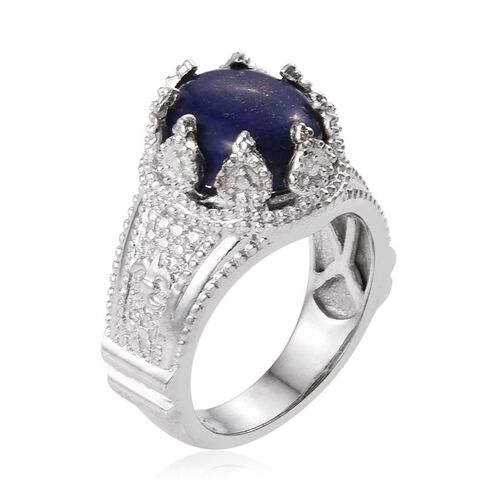 Lapis Lazuli (Ovl) Solitaire Ring in ION Plated Platinum Bond 6.000 Ct.