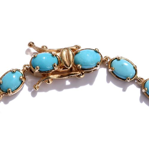 Arizona Sleeping Beauty Turquoise (Ovl) Bracelet (Size 7.5) in 14K Gold Overlay Sterling Silver 9.250 Ct.