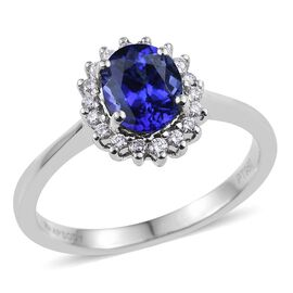 RHAPSODY 950 Platinum 1.70 Carat AAAA Tanzanite Oval Halo Ring, Diamond VS E-F.