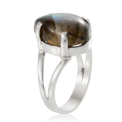 Labradorite (Pear) Solitaire Ring in Sterling Silver 8.990 Ct.