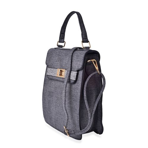 Marella Black Crossbody Bag with Adjustable and Removable Shoulder Strap (Size 25.5x22.5x9 Cm)