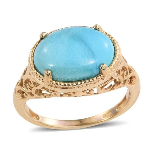 Turquoise (Ovl) Solitaire Ring in ION Plated 18K Yellow Gold Bond 4.500 Ct.