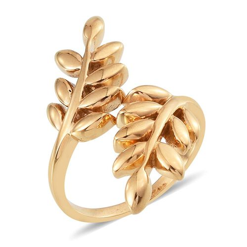 14K Gold Overlay Sterling Silver Olive Leaves Crossover Ring, Silver wt 4.50 Gms.