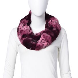 Dark Pink Colour Leopard Pattern Infinity Scarf (Size 80x20 Cm)