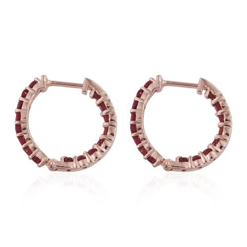 Mahenge Spinel (Rnd) Hoop Earrings in Rose Gold Overlay Sterling Silver 1.500 Ct.