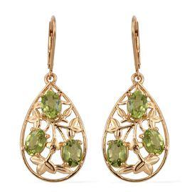 AA Hebei Peridot (Ovl) Lever Back Earrings in 14K Gold Overlay Sterling Silver 5.000 Ct.