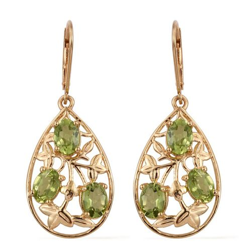(Option 1) AA Hebei Peridot (Ovl) Lever Back Earrings in 14K Gold Overlay Sterling Silver 5.000 Ct.