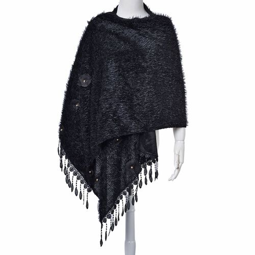 Black Colour Scarf with Fringes (Size 200x60 Cm)
