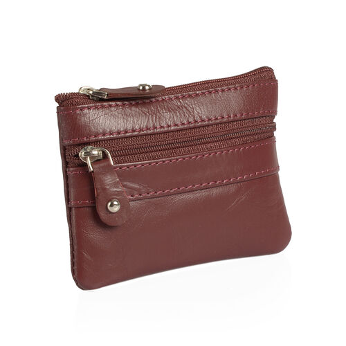 Set of 3 - Genuine Leather Burgundy Colour Coin Pouch (Size 11x8 Cm), Card Holder (Size 10x7 Cm) and Money Clip (Size 12x8 Cm)