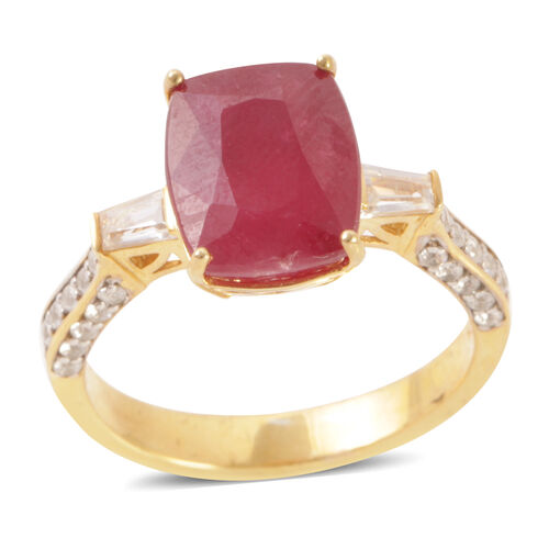 African Ruby (Cush 8.50 Ct), Natural Cambodian White Zircon Ring in 14K Gold Overlay Sterling Silver 9.500 Ct.