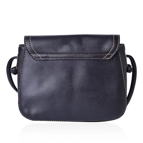 Black Colour Crossbody Bag with Shoulder Strap (Size 21.5x17x6.5 Cm)