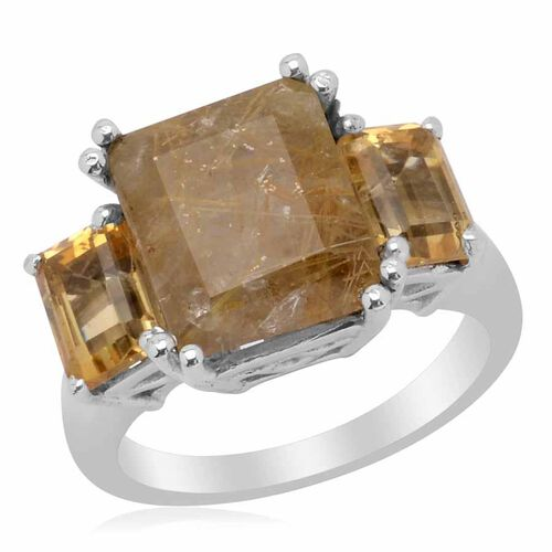 Aurelia Rutilated Quartz (Oct 4.00 Ct) Citrine Ring in Platinum Overlay Sterling Silver 6.000 Ct.