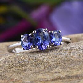 ILIANA 18K W Gold AAA Tanzanite (Ovl 0.75 Ct) 3 Stone Ring 1.500 Ct.