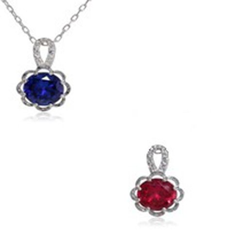 Simulated Ruby (Rnd), Simulated Blue Sapphire and Simulated White Sapphire 2 Pendant With 1 Chain in Rhodium Plated Sterling Silver