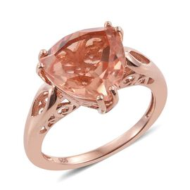 Galileia Blush Pink Quartz (Trl) Solitaire Ring in Rose Gold Overlay Sterling Silver 6.500 Ct.