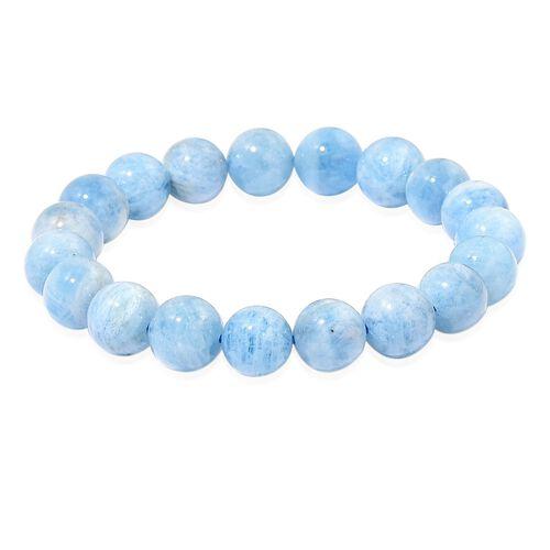 Very Rare AAA Espirito Santo Aquamarine Round Bead Stretchable Bracelet (Size 6-9) 190.000 Ct.