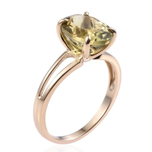 9K Y Gold Rare Size AAA Natural Canary Apatite (Ovl) Solitaire Ring 4.750 Ct.