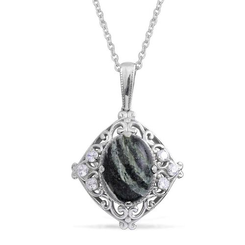 Chrysolite (Ovl 7.25 Ct), Simulated Diamond Pendant in Platinum Bond with Stainless Steel Chain 8.000 Ct.