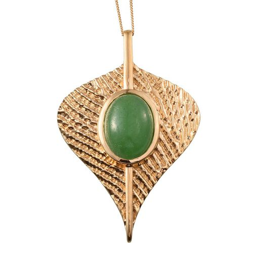Green Jade (Ovl) Leaf Pendant With Chain in 14K Gold Overlay Sterling Silver 10.500 Ct.