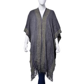 Designer Inspired Grey and Golden Wrap With Tassels (One Size fits all)