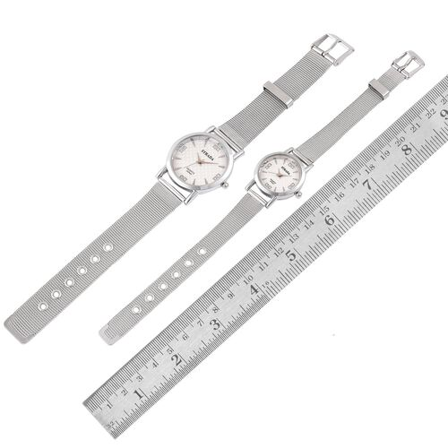 STRADA Japanese Movement White Austrian Crystal Studded White Dial Watch in Silver Tone with Stainless Steel Back