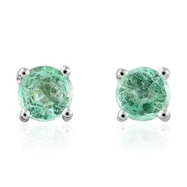 9K White Gold 0.50 Carat Boyaca Colombian Emerald Round Solitaire Stud Earrings (with Push Back)
