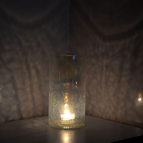 (Option 2) Home Decor - Plain and Crackle Glass Transparent Flower Vase or Tea Light Holder